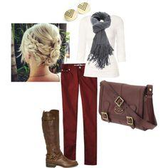 Style board burgundy jeans