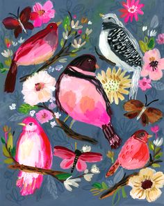 Bird Painting Acrylic, Gouache Painting, Watercolor Art, Art And Illustration, Bright Paintings, Bird Paintings, Bird Art, Painting Inspiration, Cute Art