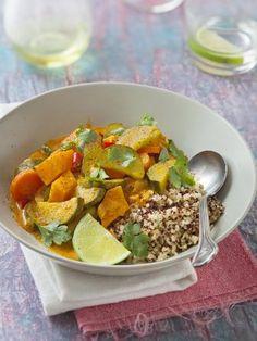 cumin, poivre, échalote, courgette, crème, pâte de curry, concentré de tomate, citron vert, ail, petit piment, sel, patate douce, carotte, basilic