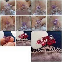 aşamalı19 Knitting, Lace, Floral, Flowers, Jewelry, Tejidos, Needlepoint, Bijoux, Jewlery
