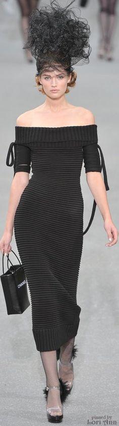 Chanel ~ Off The Shoulder Maxi Dress, Black