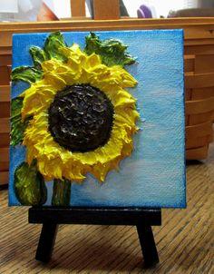 Sunflower,Original Impasto,Canvas,Penny Hunt,Signed Mini,Cubicle Decor,Hostess #Impressionism