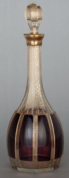 BOHEMIAN GLASS AND GILT DECORATED DECANTER--circa 1880