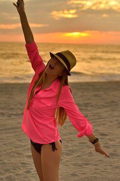 Beach style: sheer neon tunic shirt +  black swimsuit + fedora #inspiration