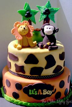 Funfari Babyshower - Funfari (safari) themed baby shower cake made to match invite :)