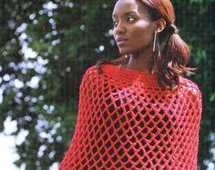 Crochet Red Mesh Poncho, Crochet Shawl Wrap Pattern, Ohio State Buckeyes, Red Poncho Pattern-Outerwear- Digital Download