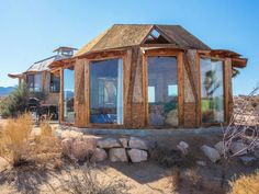 """Off-Grid Desert Dome Retreat """"A desert paradise near Joshua Tree, California with two dome homes and a swimming pool. Experience peace and quiet at the Drago. Off Grid Cabin, Dome House, Desert Homes, Off The Grid, Green Building, Deserts, Around The Worlds, House Styles, Treehouses"""