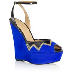 Aquazzura Black and Blue Cuba Libre Wedge (2.835 BRL) ❤ liked on Polyvore featuring shoes, sandals, blue wedge sandals, black leather sandals, black platform sandals, platform sandals and ankle strap sandals