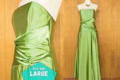 80s Jessica McClintock Long Green Evening Gown Strapless Prom Party Dress ~ Large