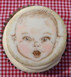 Designed, handmade hand painted by Stace x Baby Cupcake, Cupcake Cakes, Hand Painted Cakes, Creative Cakes, Cup Cakes, Pasta, Plates, Lady, Tableware