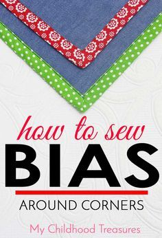 Learn how to sew bias around corners. Free Online Sewing Course by MCT 2 easy methods to sew bias tape corners for your quilt, napkins or sewing projects. Step by step tutorial & photos for sewing bias mitered corners. Sewing Binding, Quilt Binding, Sewing Stitches, Bias Binding, Sewing Basics, Sewing Hacks, Sewing Tutorials, Sewing Tips, Techniques Couture