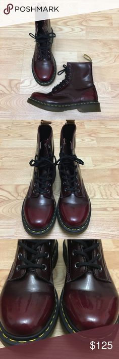 Dr Martens combat boot Cambridge brush off leather Dr Martens combat boot Cambridge brush off leather cherry red. Like new! Only used a few times, minimal signs of wear. The soles and just the boots overall look very clean. I provided images of the inside as well. Open to offers. Dr. Marten vegan 1460 8- eye boots in cherry red. Size US 8L Dr. Martens Shoes Combat & Moto Boots
