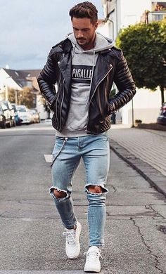 There are so many leather jackets for men! Slim fit, motorbike, or casual there are lots of ways to wear a leather jacket! We have all the top ideas! Mode Outfits, Casual Outfits, Fashion Outfits, Fashion Trends, Swag Outfits For Guys, Fashion Shoes, Fashion 2016, Paris Fashion, Runway Fashion
