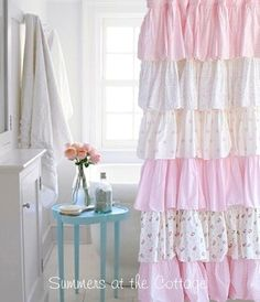 FRENCH RUFFLE PINK ROSES COTTAGE COLORS SHOWER CURTAIN...These are so sweet.