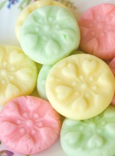Recipe; Easy cream cheese mints imprinted with a cookie stamp. Great idea.
