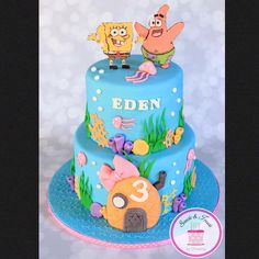 SpongeBob cake with a little girly touch :) #spongebob #spongebobcake #spongebobandpatrick #sweetsandtreatsbychristina