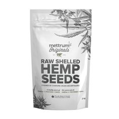 Raw Shelled Hemp Seeds | Mettrum Originals Hemp seeds are an excellent source of essential fatty acids, including Omega 3, Omega 6, and GLA. Sprinkle Mettrum Originals Raw Shelled Hemp Seeds on just about anything, or eat them on their own for a quick and healthy snack!  Ingredients: raw shelled hemp seed