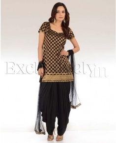 Black & Gold Patiala Suit