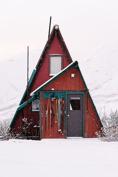 snowy red a-frame