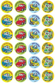 Crazy Cars Merit Stickers - Australian Teaching Aids - 96 brightly coloured cars stickers to reward or decorate. Reward Stickers, Teacher Stickers, Car Stickers, Crazy Cars, Weird Cars, Reward Chart Kids, School Posters, Teaching Aids, Scrapbook Stickers