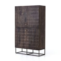 Unique linear carving meets fresh dimension with an artisan slant. Mango wood casing is finished in a vintage brown, highlighting texture and high craftsmanship. A slim iron base adds an airy, cage-like look to clean-lined cabinetry. Tall Cabinet Storage, Locker Storage, Storage Cabinets, Cabinet Doors, Modern Home Bar, Moe's Home Collection, Burke Decor, Wood Cabinets, Media Cabinets