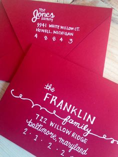 hand-lettered envelope with return address on back flap - love the bright envelope + white script