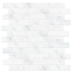 We used this in most of the bathrooms for accent tile-looks even better in person-Hampton Carrara Cardine
