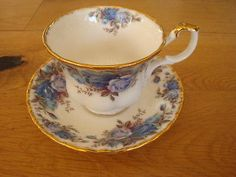 Royal Albert Moonlight Rose cup & saucer bone china England footed blue roses