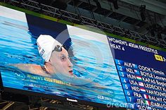 Katie Ledecky after swimming new Olympic record in 400m freestyle at Rio2016.  Picture taken Aug 7, 2016.