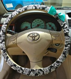 Steering Wheel Cover Black & White Damask Fabric w/Aqua Blue Bow, Teen, Gifts, Women, car, accessories, girl, steering wheel covers on Wanelo