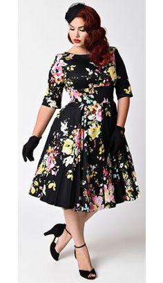Vintage Style Plus Size Black Seville Floral Half Sleeve Hepburn Swing Dress