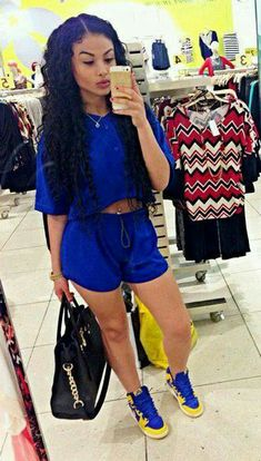 Pretty girl swag blue summer outfit