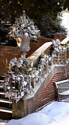 Raindrops and Roses French Christmas, Christmas Tree Farm, Christmas Mantels, Silver Christmas, Elegant Christmas, Christmas Love, Beautiful Christmas, All Things Christmas, Christmas Wreaths