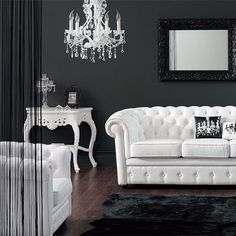 <3 white furniture against black walls!