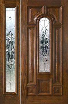 Exterior Entry Doors with 1 Sidelight - Solid Mahogany Entry Doors Front Door Design Wood, Wood Front Doors, Wooden Door Design, Main Door Design, Exterior Doors With Sidelights, Exterior Entry Doors, Sidelight Windows, Wooden Glass Door, Wooden Doors