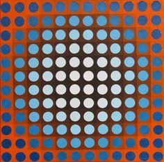 Blue on Orange Chrome : This painting is the first of the chrome set. I had a lot of fun playing with the contrast and I am considering making a similar painting on a much larger scale. Medium: Acrylic on Canvas Size: x Contemporary Artists, Modern Art, Hard Edge Painting, Electric Blue, Optical Illusions, Online Art Gallery, Geometric Shapes, Canvas Size, Graphic Art