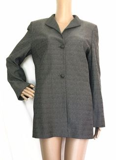 Gianfranco FERRE Studio Grey/Blue Iridescent Metallic Long Jacket - Size 8 - EUC #GianfrancoFerreStudio #Blazer