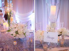 shimmery white and metallic wedding reception decor   photo by capturedbyjen.com