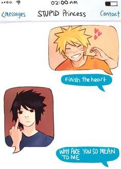 """<3 Naruto & Sasuke - Naruto: """"Finish the heart"""" Sasuke: *flips off* Naruto: """"Why are you so mean to me"""""""