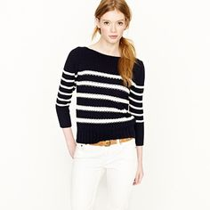 J. Crew ripplestitch sweater in navy & chalk stripe. I love stripes too much.