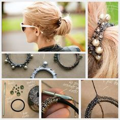 BEADED HAIR ELASTICS DIY-I would use junk jewelry beads and baubles to make them!