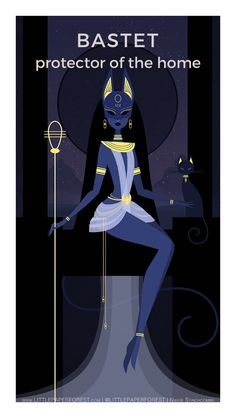 Bastet by Nikkie Stinchcombe / Little Paper Forest. Bast or Bastet, the famous 'cat goddess' of ancient Egypt. Depicted as a lion headed or cat headed woman often carrying an ankh or papyrus wand. She is associated with the all seeing eye (th Evvi Art, Bd Art, Egyptian Mythology, Egyptian Art, Art And Illustration, Fantasy Kunst, Fantasy Art, Goddess Art, Bastet Goddess