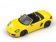 Spark Porsche 981 Resin Model Car This Porsche 981 Boxster S Resin Model Car is Yellow and features comes in a display case. It is made by Spark and is scale (approx. Boxster S, Porsche Models, Model Car, Electric Motor, Diecast Models, Display Case, Scale Models, Resin, Cars