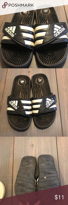 227c66a77eee73 Adidas Slide On Flip Flops Worn and used adidas flip flop slide ons. I  cleaned