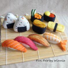 Custom made to order Plum onigiri and sushi Wool Needle Felting, Wet Felting, Sushi Plush, Felt Food Patterns, Felt Succulents, Japan Crafts, Felt Cupcakes, Felt Play Food, Felting Tutorials