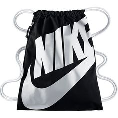 Nike Heritage Gymsack ($17) ❤ liked on Polyvore featuring bags, backpacks, nike, accessories, black, rucksack bag, day pack backpack, knapsack bag and backpack bags