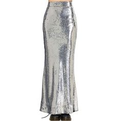 Women Vintage High Waist Sequins Zipper Long Mermaid Corset Dress Fishtail Skirt #Haoduoyi #StraightPencil