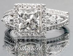 2.03 carat Princess Diamond Wedding Engagement Ring Certified Platinum $5400