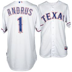 Elvis Andrus Texas Rangers Fanatics Authentic 2015 Game-Used White #1 Jersey vs The Los Angeles Angels on April 13, 2015