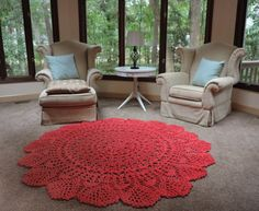 Crochet Doily Rug, floor, Current Dark Coral Salmon- Wool- Lace- large area rug, Cottage Chic- shabby round rug, French Country Decor